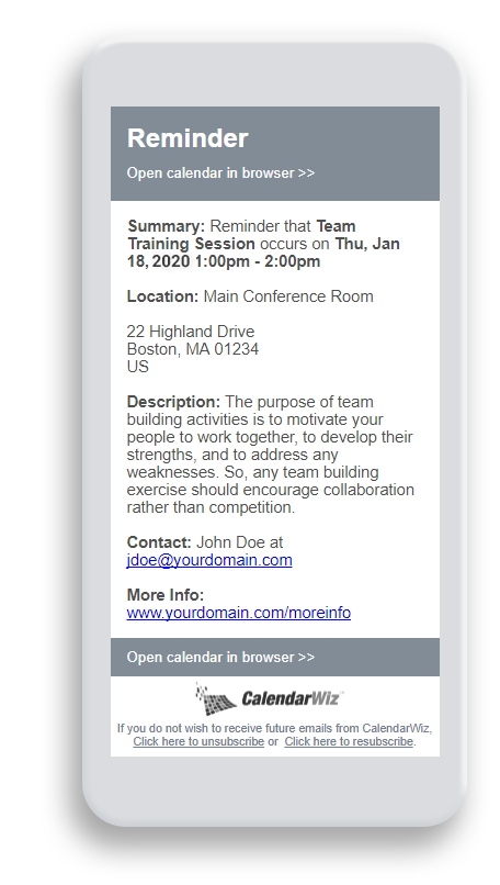event reminders and annoucements ensure you don't miss a thing