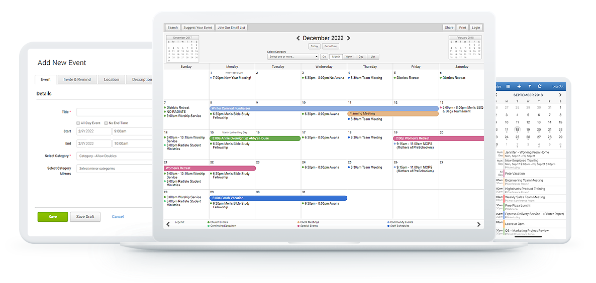 shared calendar on computer, smartphone, and tablet