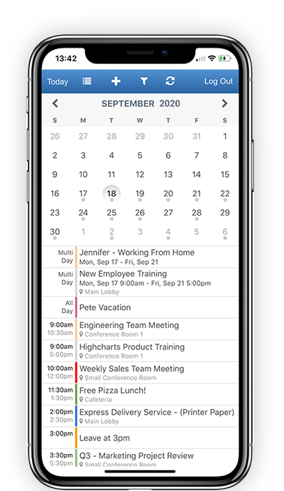 calendar viewable on mobile devices